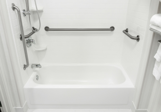 #2: Install Grab Bars Around The Shower Area And Toilet